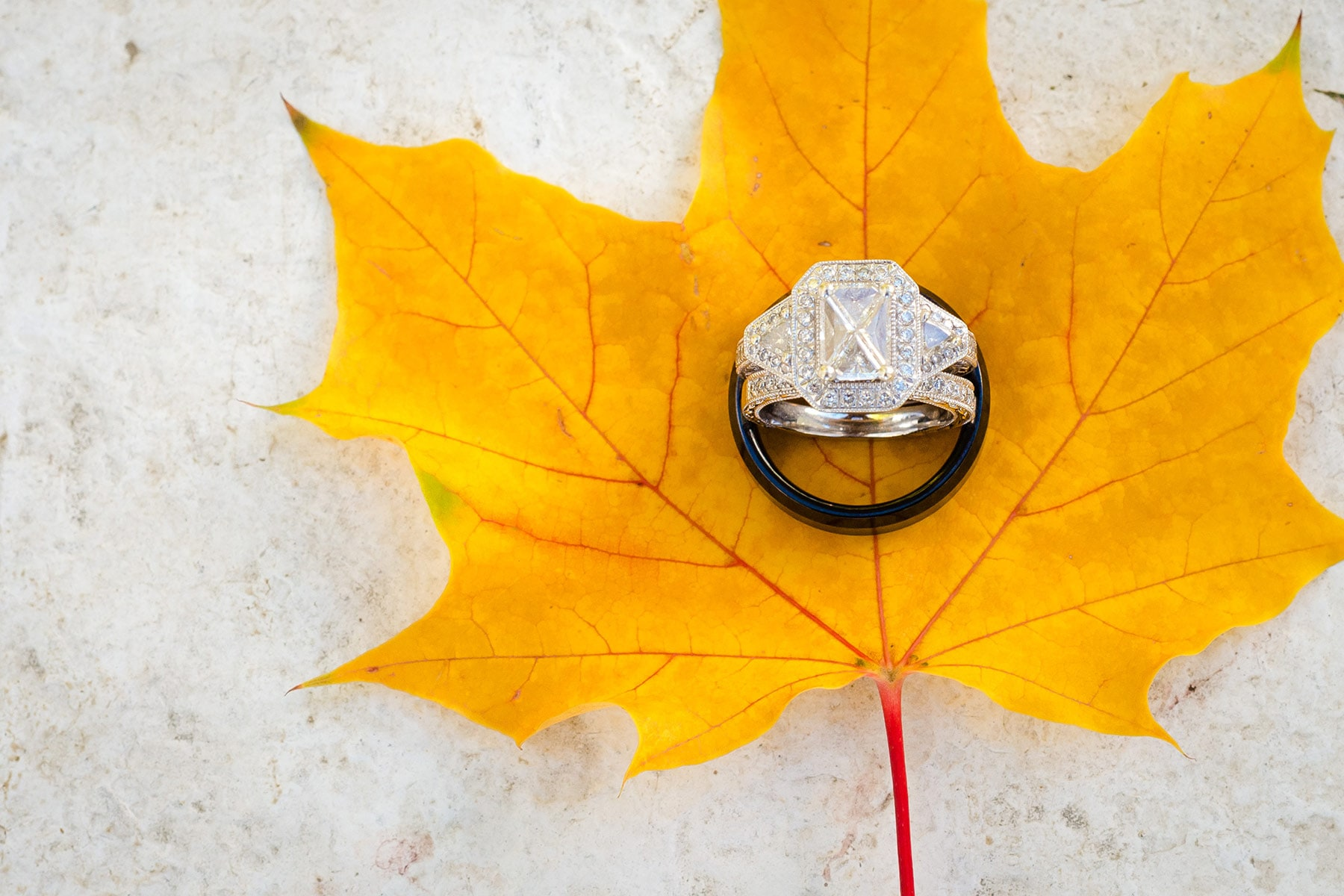 Wedding rings with maple leaf, in Vaughan Ontario