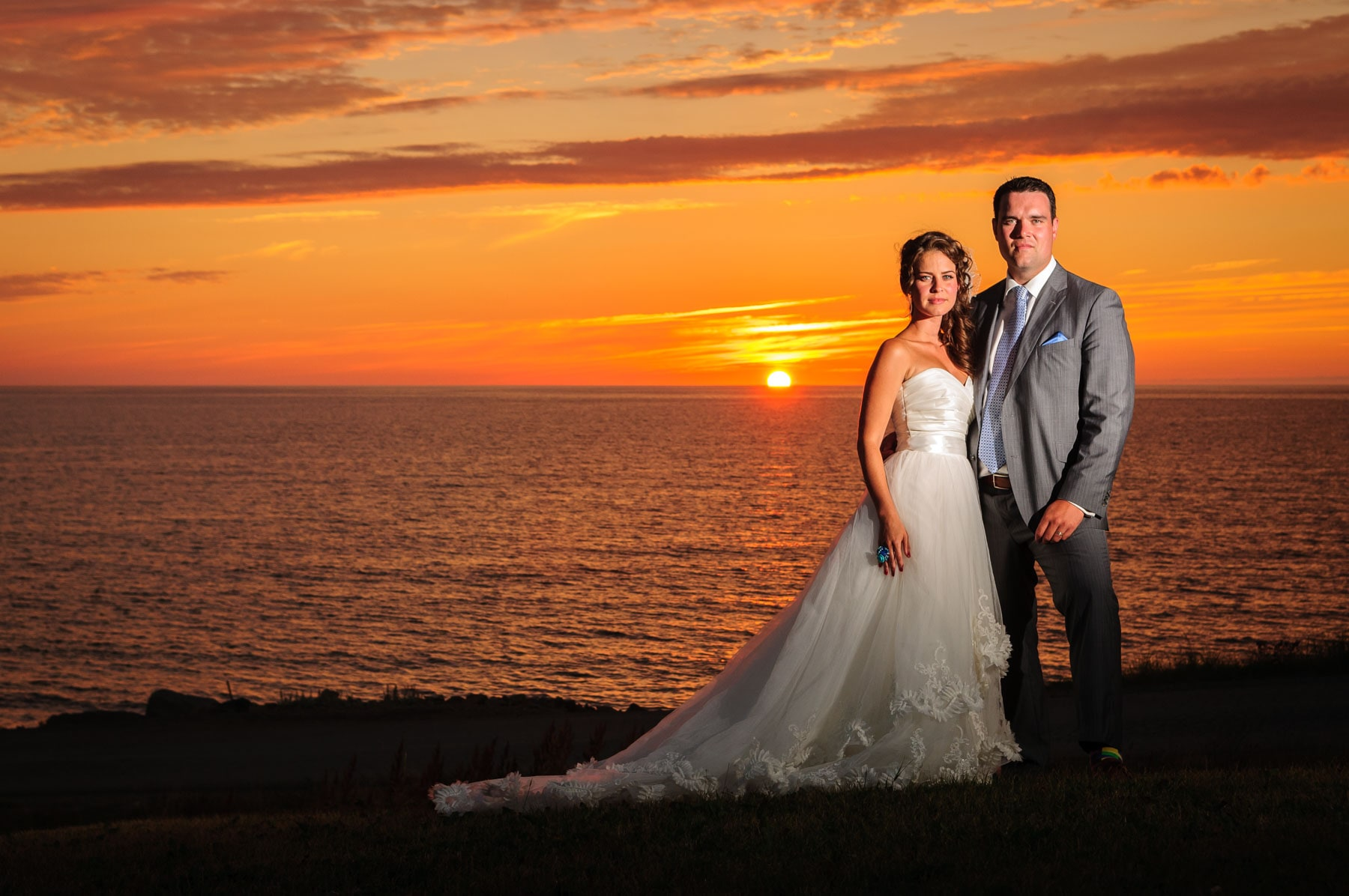 Wedding photo with Cape Breton sunset