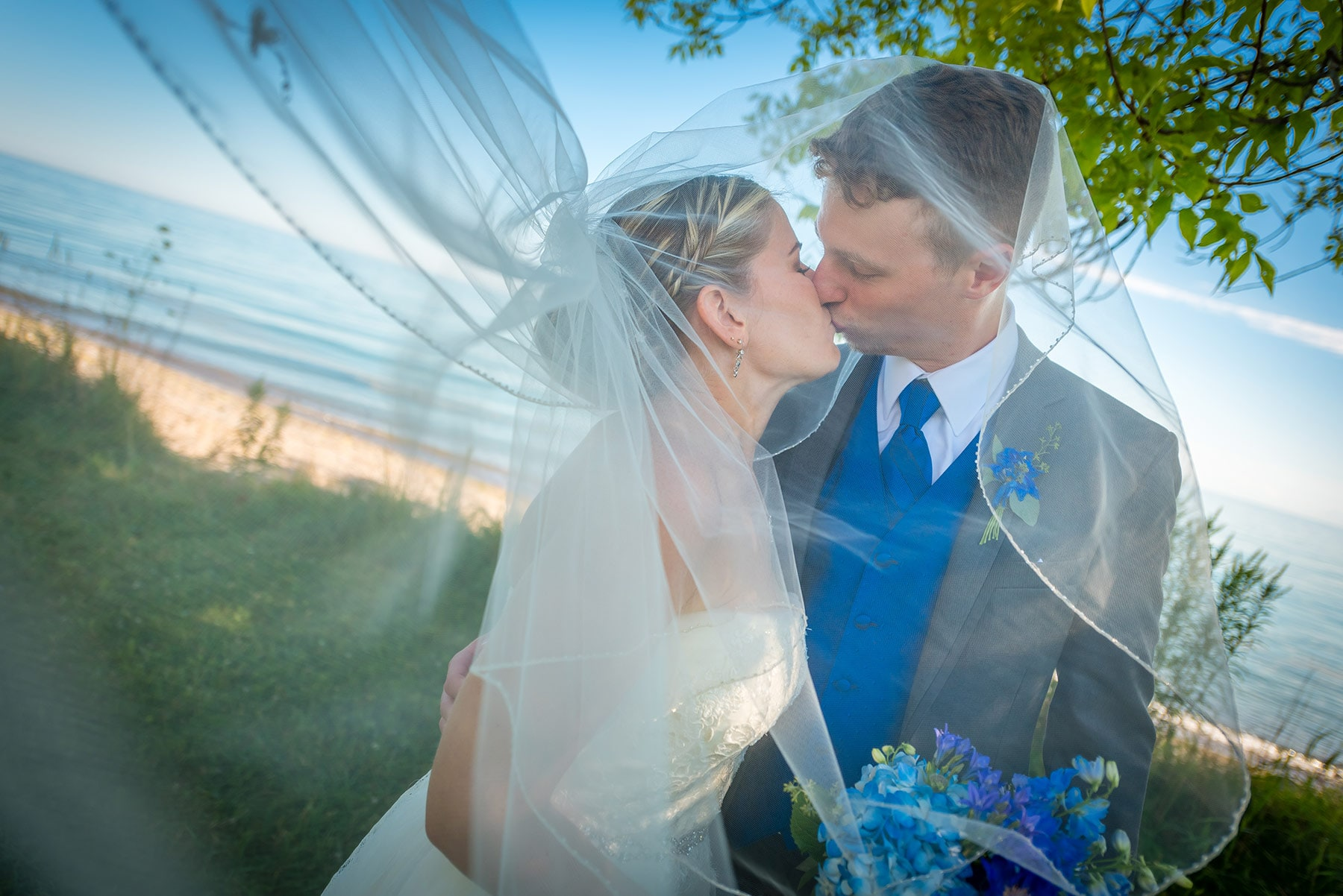 Wedding photography with blowing veil