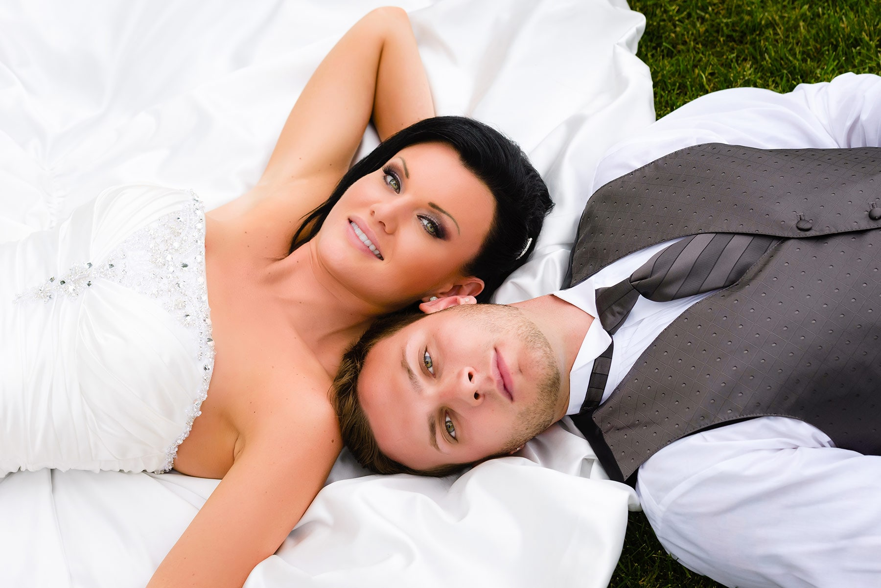 Bride and groom lying down — Vaughan wedding photography